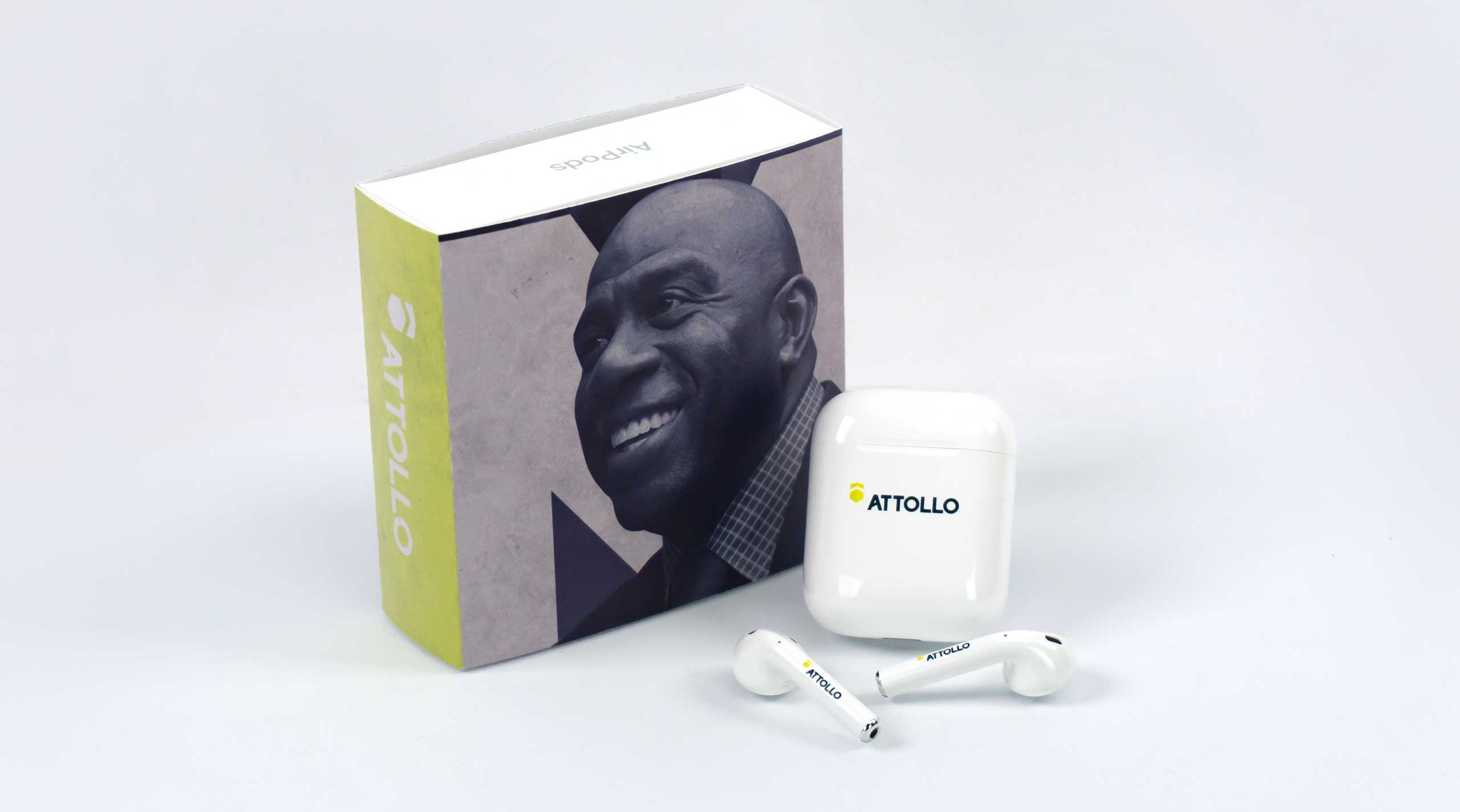 Custom branded Apple AirPods are given to event sponsors and donors of Attollo's annual fundraiser.