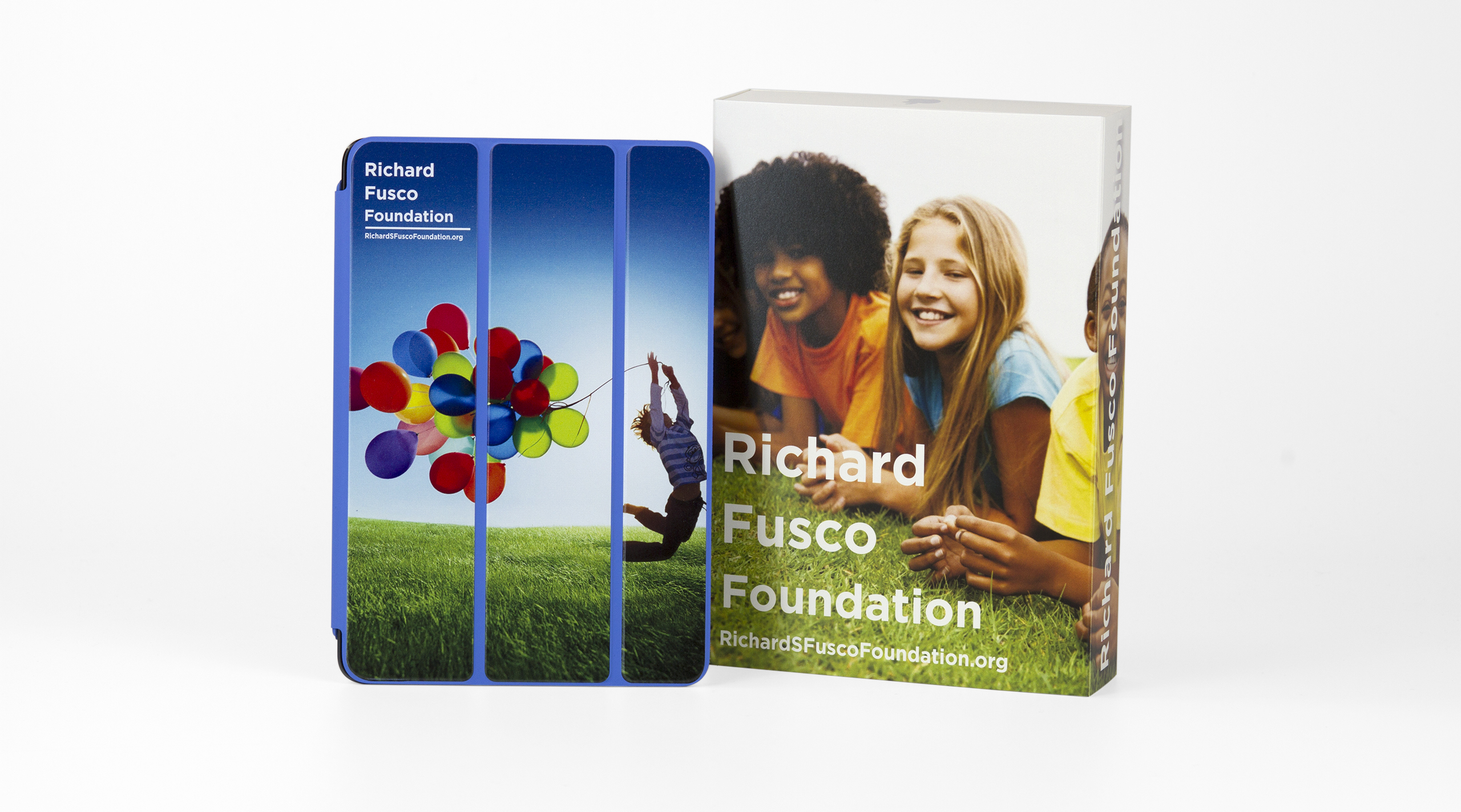 Each iPad is custom branded with the Foundation's colorful brand.