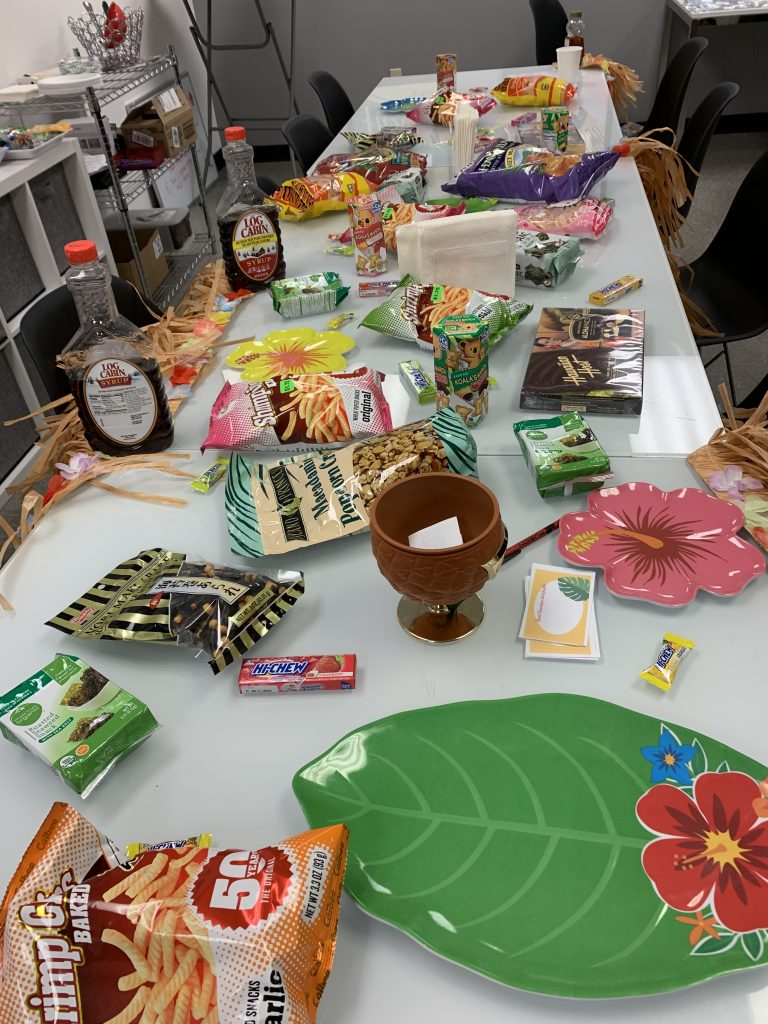 Tropical goodies take over the break room on Aloha Day.