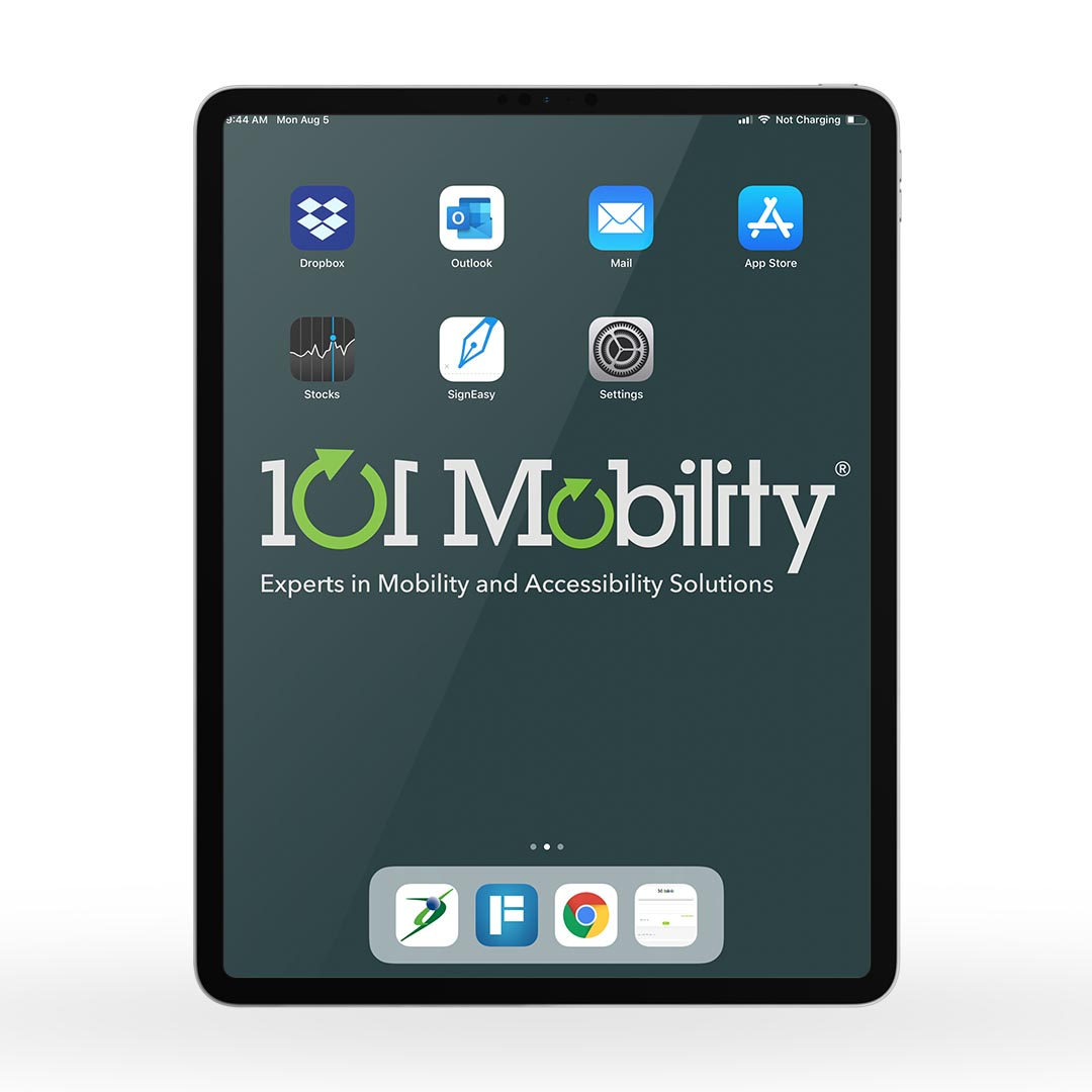 iPad Pros used by the company's Mobility Consultants include the company logo on the tablet screens and select apps preloaded on the device.